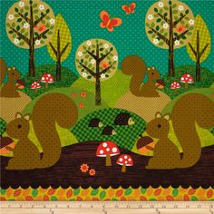 Nuts for Dinner Norwegian Woods Squirrel Cotton Fabric Michael Miller FQ Woodland Animals Theme, Fabric Tree, Norwegian Wood, Quatrefoil Pattern, Nursery Curtains, Baby Sewing Projects, Pumpkin Lights, Michael Miller Fabric, Novelty Print
