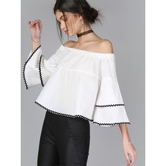 Off the Shoulder Ruffle Sleeve Top WHITE ($20) ❤ liked on Polyvore featuring tops, blouses, off shoulder blouse, flower blouse, off the shoulder blouse, white off the shoulder blouse and ruffle sleeve top