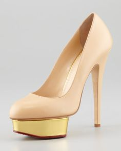 Dolly Island Platform Pump, Nude by Charlotte Olympia at Neiman Marcus.