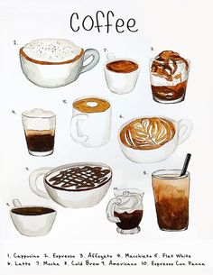 Original painting done with watercolor and colored pencil. Chart prints are offered on glossy or textured watercolor paper. Coffee Bar Home, Coffee Menu, Coffee Shop, Japon Illustration, Coffee Illustration, Coffee Drawing, Coffee Painting, But First Coffee, I Love Coffee