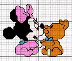 minnie Graph Paper Art, Mini Cross Stitch, Pooh Bear, Stitch 2, Minnie, Disney Cartoons, Baby Disney, Cross Stitching, Pixel Art