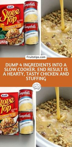 Dump 4 ingredients into a slow cooker. End result is a hearty, tasty chicken and stuffing! – 11 Points Meals Dump 4 ingredients into a slow cooker. End result is a hearty, tasty chicken and stuffing! Crockpot Dump Recipes, Crockpot Dishes, Crock Pot Cooking, Ww Recipes, Easy Chicken Recipes, Crock Pot Slow Cooker, Cooking Recipes, Tasty Slow Cooker Recipes, Recipes