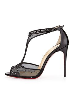 X2EHA Christian Louboutin Patinana Strass Red Sole Sandal, Hematite