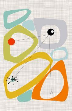 Abstract Mid-Century Modern, Wall Prints, Colorful Midcentury, Retro Style Wall Art, Danish Scandi W Mid Century Modern Art, Mid Century Art, Mid Century Style, Mid Century Design, Mid-century Modern, Modern Wall, Modern Prints, Dorm Art, Googie