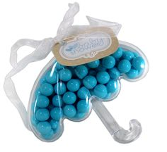 Baby Shower Favors using these new plastic containers in the umbrella shape, filled with Sixlets and embellished with ribbon and a tag.