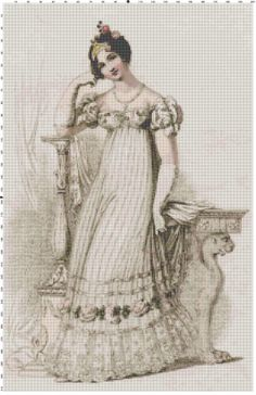 Regency bride cross stitch pattern PDF by Bluegiantstitch on Etsy, £1.80