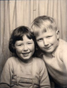 ** Vintage Photo Booth Picture **   Cutie pie siblings