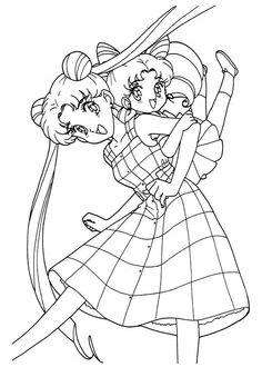 Sailor Moon Series Coloring Pages: Usagi and ChibiUsa