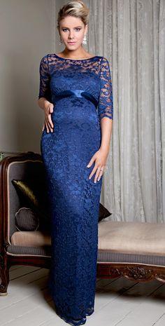 Amelia Maternity Dress Long (Windsor Blue) by Tiffany Rose