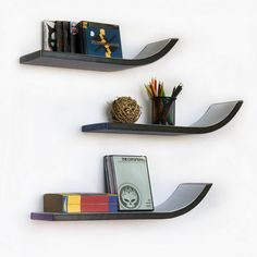 Trista Stylish J Type Leather Floating Wall Shelves Bookshelf (Set of 3) | Santana's Market