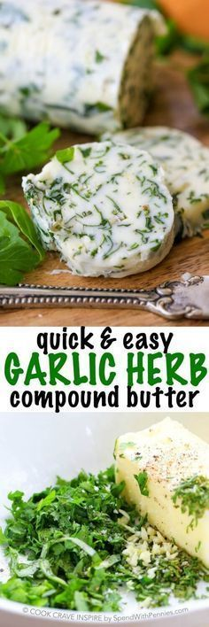 Garlic Herb Compound Butter. Fresh garlic, parsley, rosemary and basil make a delicious compound butter for steaks, corn on the cob or fresh bread!