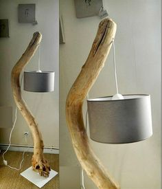 Easy Driftwood Floor Lamp Tutorial - 15 Unique DIY Lamp Ideas To Light up Your Home Creatively - DIY & Crafts