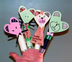 Pre-school idea - valentine finger puppets inspired by http://katiedid.squarespace.com/katie-did-journal/2010/2/14/valentines-2010.html