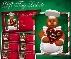 "Gingerbread Girl ""Heart"" Gift Tag Labels - Digital Download by DinkyPrints"
