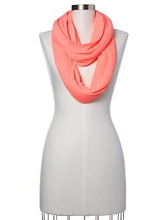 Gap Spacedye cowlneck scarf. Just bought this in neon coral & mint :)