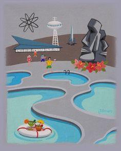 Mid Century Modern Eames Retro Limited Edition Print from Original Painting Futurist Beach