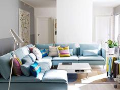 Deze bank is ook erg mooi (en diep, zoals je wenst, maar geloof ik niet in lichtgrijs te krijgen...): IKEA new Soderhamn sofa with throw pillows