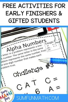 Engage your 3rd, 4th grade, and 5th grade early finishers with over 130 rigorous math activities that motivate the unmotivated. These NO PREP upper elementary math extensions will keep your fast finishers and gifted students learning and challenged! #earlyfinishers #fastfinishers #mathextensions Fun Math Activities, Math Resources, Math Games, Fast Finishers, Early Finishers, Elementary Math, Upper Elementary, Gifted Students, Fifth Grade
