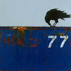 """DUMPSTER DIVING X: CURIOSITY-  Contemporary Raven Painting by Cristina Del Sol Mixed Media, Oils, Pigments and Cold Wax ~ 12"""" x 12"""""""