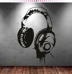 Headphones Music DJ Wall Stickers Wall Art Decal