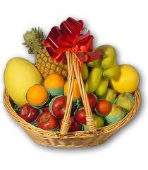 Assorted Fruits  Assorted Fresh Fruits-Red plums, Juicy Oranges, Peaches,Seedless Grapes,Pears arranged well in a basket.(8 kgs)