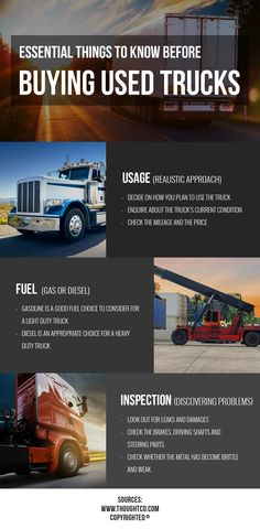 Trucks are useful for undertaking construction work. Before buying a used truck, one should consider few things. One should inspect the brakes, shafts and steering parts. It is also important to check the truck's current condition.