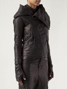BARBARA I GONGINI - oversized collar leather jacket