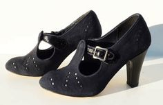 Remix Vintage Shoes, Clouche T-Strap Bootie Heel in Blue Suede/Black Patent