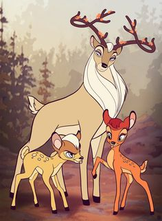 Thranduil and tiny fawns Legolas and Tauriel!