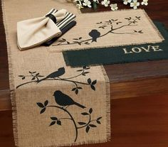 Shop Design Imports with the birds burlap table runner (28285). 100% jute construction and a black bird on a branch…