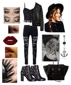 """""""Untitled #9"""" by twistedtahli on Polyvore featuring Lipsy, Yves Saint Laurent, Valentino, ASOS, CÉLINE and Lime Crime"""