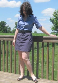 Pencil Skirt out of a men's button down. Saw a photo of one made using the natural hemline of the shirt, so cute!