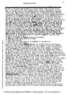 Manuscript page of St Louis Return by Burroughs
