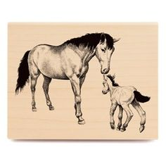 Mare and Colt Rubber Stamp