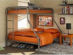 Twin over Full Bunk Beds Metal Bunkbeds Kids Teens Dorm Bedroom Furniture Metal Bunk Beds, Modern Bunk Beds, Full Bunk Beds, Bunk Beds With Stairs, Kids Bunk Beds, Bed Rails, Full Bed, Childrens Bedroom Furniture, Bed Furniture