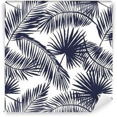Palm leaves silhouette on the white background. Vector seamless pattern with tropical plants. Wallpaper ✓ Easy Installation ✓ 365 Day Money Back Guarantee ✓ Browse other patterns from this collection!