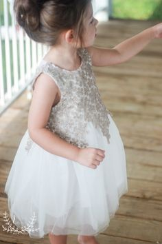 "OMG! The most adorable ""princess"" dress for your little one! Perfect for pictures, special occasions or of course for a flower girl! Ivory tulle layered skirt with crochet aged gold lace overlay, slee"