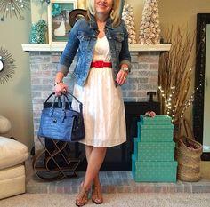 White dress, red belt, blue jean jacket