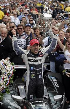 Tony Kanaan, of Brazil, celebrates after winning the Indianapolis 500 auto race at the Indianapolis Motor Speedway in Indianapolis, Sunday, May (AP Photo/Darron Cummings) Indy Car Racing, Indy Cars, Helio Castroneves, Indy 500 Winner, There Goes My Hero, Race Party, Indianapolis Motor Speedway, Car And Driver, Formula One