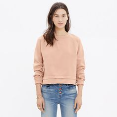 A cropped sweater with a sporty sweatshirt feel, this crewneck pullover was inspired by European street style. Densely woven for a cool, slightly structural look.  <ul><li>Slightly boxy, cropped fit.</li><li>Nylon.</li><li>Hand wash.</li><li>Import.</li></ul>
