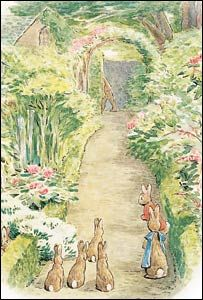 Gwaenynog Hall gardens in Denbigh, is the setting for 'The Tale of the Flopsy Bunnies'. Beatrix Potter's mother and Mrs. Smith's (the owner) great-grandmother were sisters and Beatrix Potter would come and spend time with her relatives beginning in 1890.
