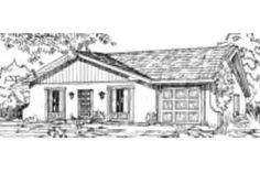 Adobe / Southwestern Style House Plan - 3 Beds 2 Baths 967 Sq/Ft Plan #1-136 Exterior - Front Elevation - Houseplans.com