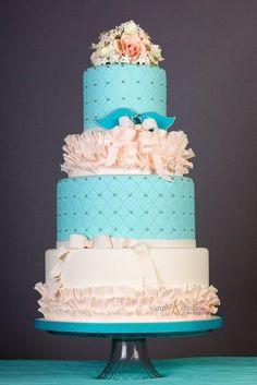 Pink & Teal Ruffle Cake