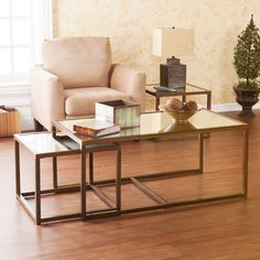 Upton Home Morganton Nesting Coffee/ End Table Set - Overstock Shopping - Great Deals on Upton Home Coffee, Sofa & End Tables Simple Coffee Table, Coffee And End Tables, Sofa End Tables, Coffe Table, Small End Tables, Metal End Tables, End Table Sets, Side Tables, Living Room Decor