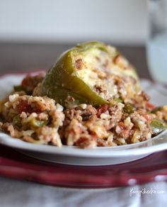 Stuffed Green Pepper Recipe - Easy Dinner Idea... would substitute the white rice for brown