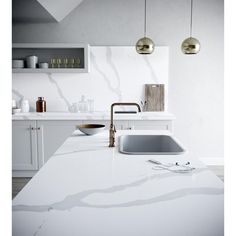 Silestone 4 in. x 8 in. Quartz Countertop Sample in Bianco Calacatta-SS-Q0710 - The Home Depot