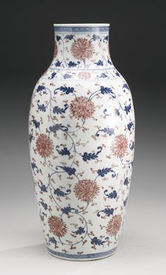 Ming styled copper red and underglaze blue vase. Qing Dynasty Late 18th century-Early 19th century.  #DecorativeChineseArt #ChineseCeramics