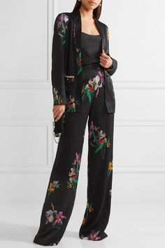 Etro - Embroidered Floral-print Satin-crepe Blazer - Black - IT38