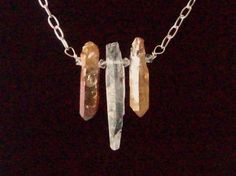 Crystal points necklace, one raw crystal flanked by 2 Calcite crystals with Swarovski crystal spacers silver plated link chain lobster clasp - pinned by pin4etsy.com