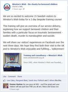 We are so excited to welcome 15 Swedish visitors to Winston's Wish today for a 3 day bespoke training course!